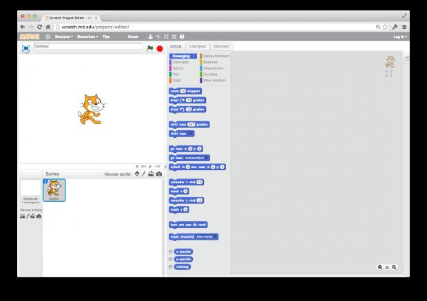 Openingsscherm maak-omgeving Scratch